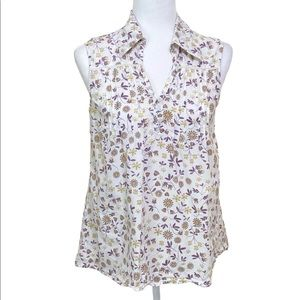 Vintage DCC Floral Pintuck Sleeveless Blouse M